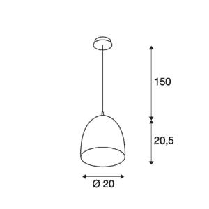 Candeeiro Suspenso SLV Para Cone 20 Br